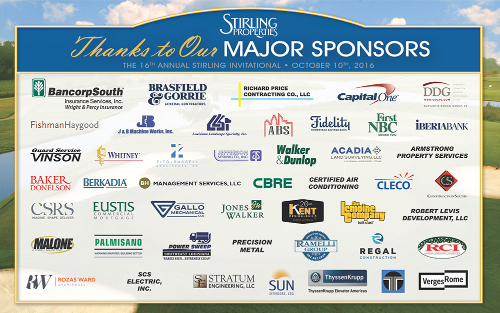 16th Annual Stirling Invitational Golf Tournament Sponsors