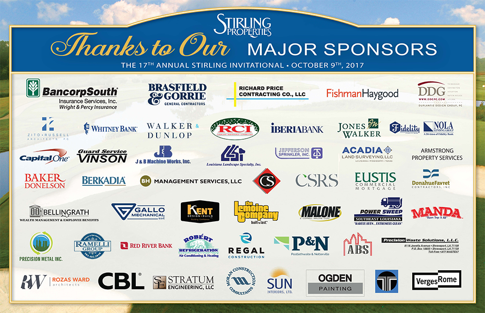 Stirling Invitational Golf Tournament  Sponsors