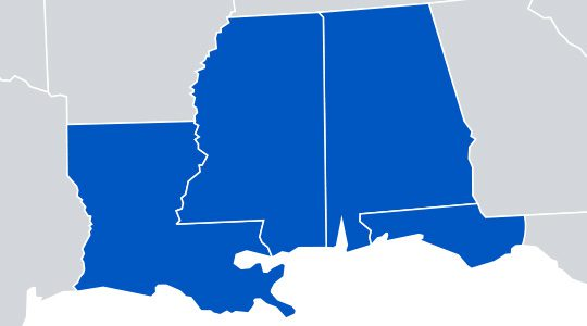 Map of the Gulf South States - Louisiana, Mississippi, Alabama, Florida