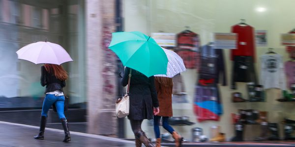 Rain at Shopping Center
