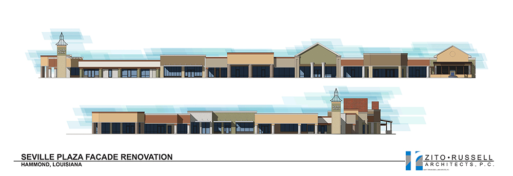 Seville Plaza in Hammond, Louisiana Renovation Rendering